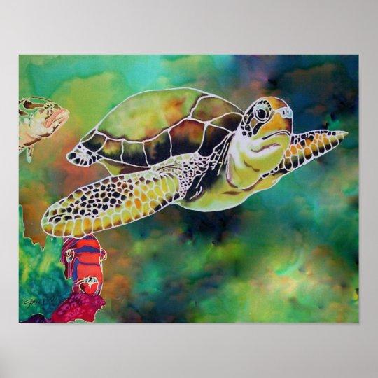 "Green Sea Turtle Tortoise Print ""La Tortue"""