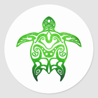 Green Sea Turtle Tribal Classic Round Sticker