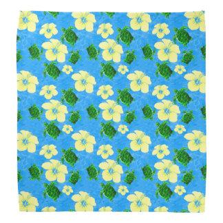 Green Sea Turtles Hawaiian Floral Design Head Kerchiefs