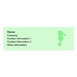 Green Seahorse on Light Green Stripes. Business Card Template