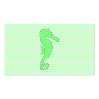 Green Seahorse on Light Green Stripes Business Card Templates