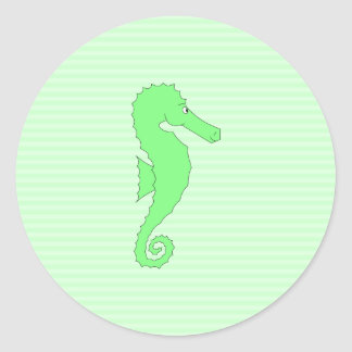 Green Seahorse on Light Green Stripes. Classic Round Sticker
