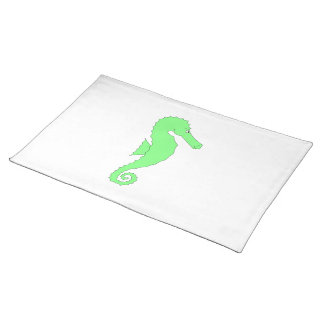 Green Seahorse on White Placemat