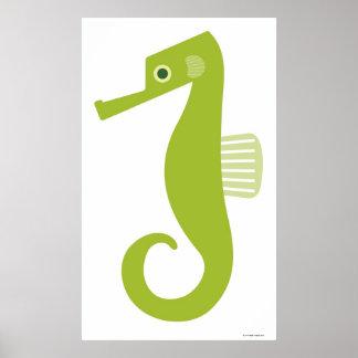 Green Seahorse Poster