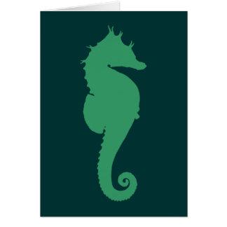 Green Seahorse Silhouette Card