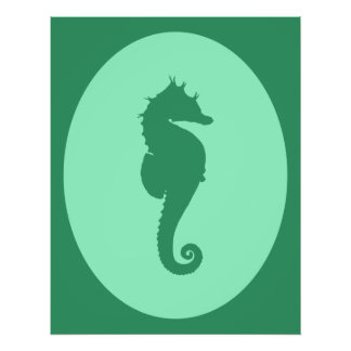 Green Seahorse Silhouette Poster
