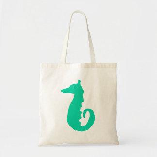 Green Seahorse Silhouette Tote Bag