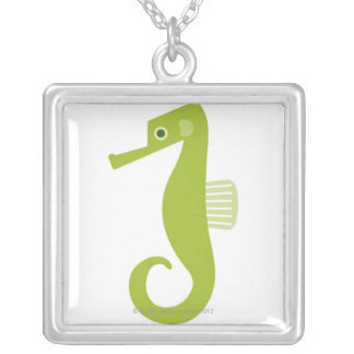 Green Seahorse Silver Plated Necklace