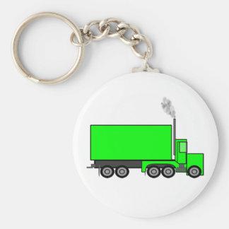 Green Semi-Trailer Truck Keychain