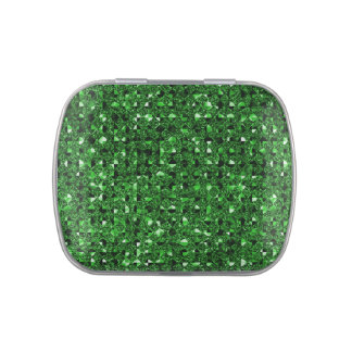 Green Sequin Effect Jelly Belly Candy Tins