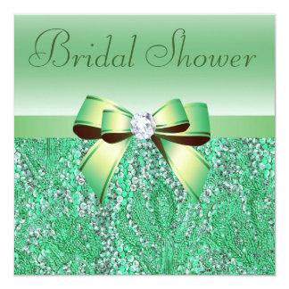 Green Sequins, Bow & Diamond Bridal Shower 13 Cm X 13 Cm Square Invitation Card