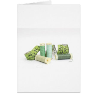 Green sewing kit and threads greeting card