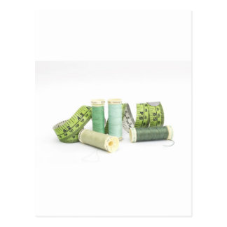 Green sewing kit and threads postcards