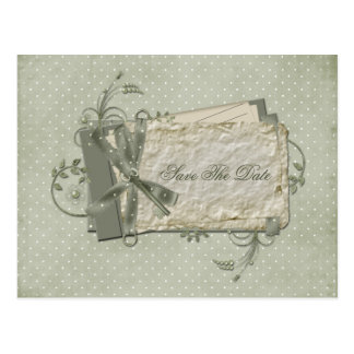 Green Shabby Dotted Swiss Save The Date Post Cards