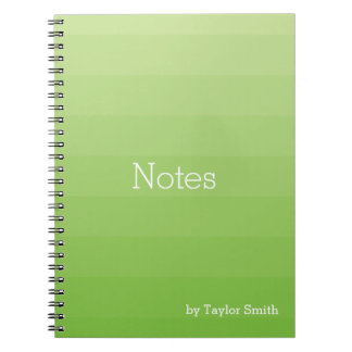 Green Shades Horizontal Stripes Youthful Notebooks