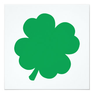 Green Shamrock 13 Cm X 13 Cm Square Invitation Card