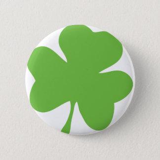 green shamrock 6 cm round badge
