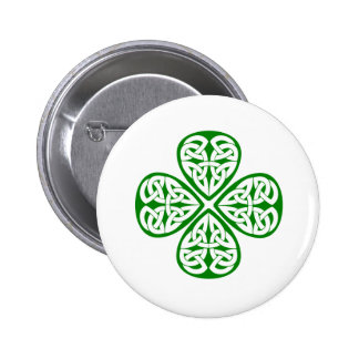 green shamrock celtic knot 6 cm round badge