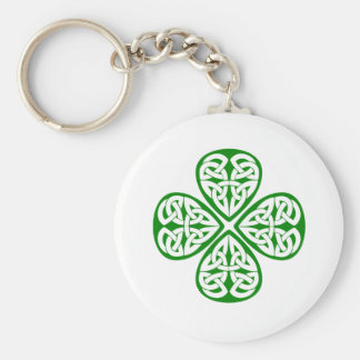 green shamrock celtic knot basic round button key ring