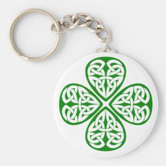 green shamrock celtic knot keychain
