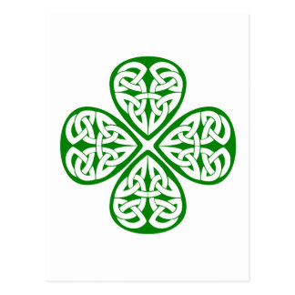 green shamrock celtic knot postcard