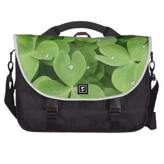 Green shamrock clover leaves laptop commuter bag