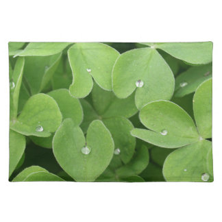 Green shamrock clover leaves placemat
