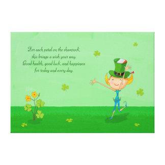 Green Shamrock Clovers & Elves with Leprechaun Hat Canvas Prints