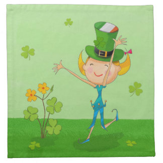 Green Shamrock Clovers & Elves with Leprechaun Hat Cloth Napkins
