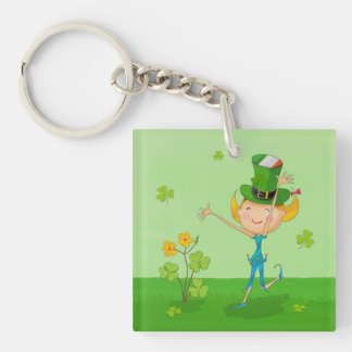 Green Shamrock Clovers & Elves with Leprechaun Hat Square Acrylic Keychains
