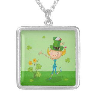 Green Shamrock Clovers & Elves with Leprechaun Hat Square Pendant Necklace