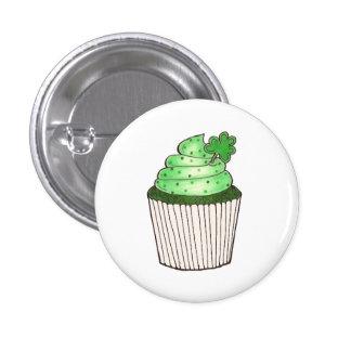 Green Shamrock Cupcake Saint Patrick's Day Button
