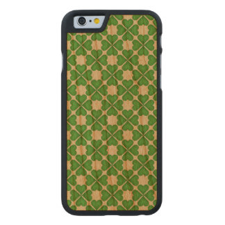 Green Shamrock Four leaf Clover Hearts pattern Carved Cherry iPhone 6 Case