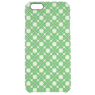 Green Shamrock Four leaf Clover Hearts pattern Clear iPhone 6 Plus Case