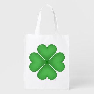 Green Shamrock Four leaf Clover Hearts Reusable Grocery Bag