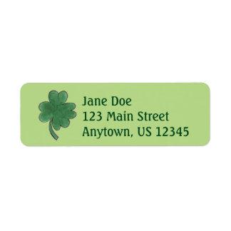 Green Shamrock Four Leaf Clover Lucky Labels