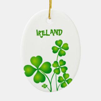 Green Shamrock From Ireland Ceramic Oval Decoration