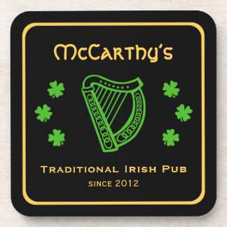 Green shamrock harp custom family name Irish pub Beverage Coaster