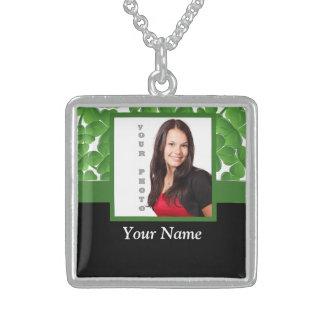 Green shamrock instagram template sterling silver necklace