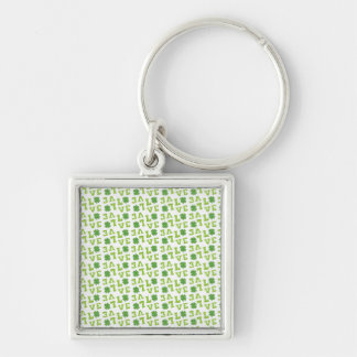 Green Shamrock Love Silver-Colored Square Keychain