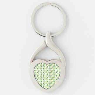 Green Shamrock Love Silver-Colored Heart-Shaped Metal Keychain