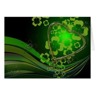 Green shamrock love note card