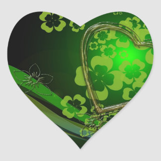 Green shamrock love heart stickers