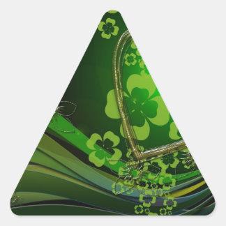 Green shamrock love triangle sticker