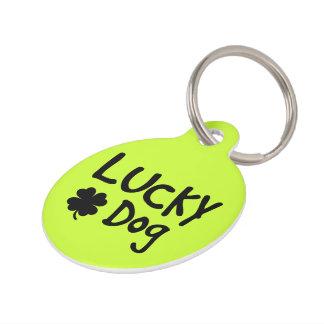 Green Shamrock Lucky Dog Custom Pet Name Tag