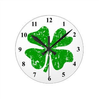 Green shamrock lucky four leaf clover wall clock