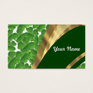 Green shamrock pattern business card