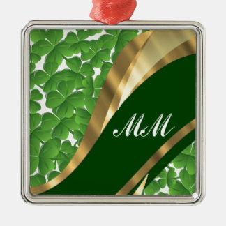 Green shamrock pattern christmas ornament