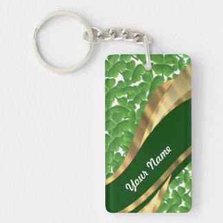 Green shamrock pattern key ring