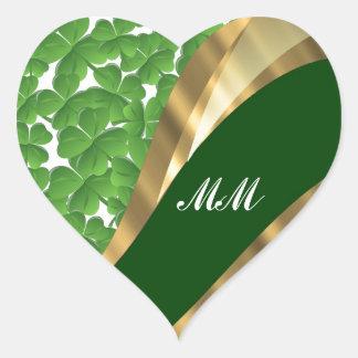 Green shamrock pattern heart stickers